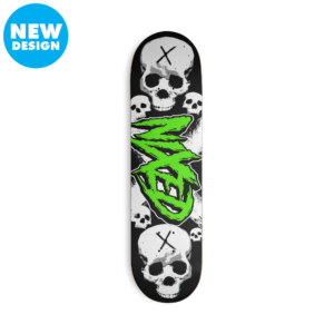Skateboard with green NIXED logo and skulls